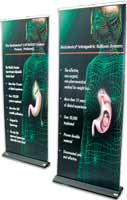 850 Premium Rollaway banner with lights